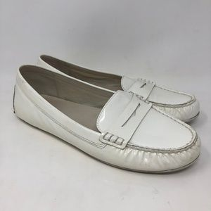 MIchael Kors White Patent Leather Loafers Flats 9.